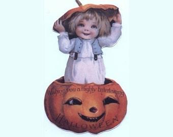 Die Cut Pumpkin Surprise Reproduction Scrap (Pumpkin Kid) - Genuine (Newer)