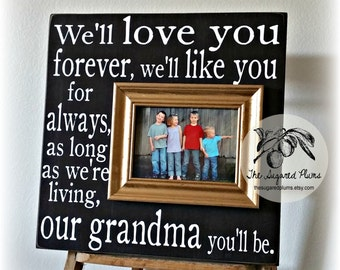 Grandma Frame Gift, Gold and Black, Gift For Grandma, Personalized Picture Frame, I'll Love You Forever 16x16 The Sugared Plums Frames