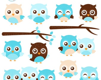 Blue Owls Clipart Set - cute owls clip art set, blue owls, boy owls, branches, owl - personal use, small commercial use, instant download
