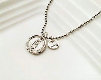 Letter C wax seal charm necklace, Silver wax seal pendant, vintage initial charm, wax seal jewelry, monogram charm, Initial jewelry