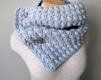 Crochet Cowl Scarf Neckwarmer in Arctic Blue with Buttons