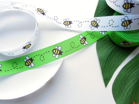 2 yds Bee grosgrain ribbon  Bumblebee spring ribbon  Grosgrain ribbon 22 mm wide Ribbon for crafts Lanyard ribbon  Key fob ribbon. UK Seller