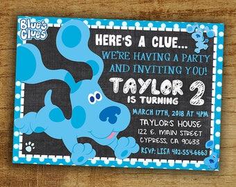 Blues Clues Birthday Invitation, Blues Clues Birthday Party Invite, Digital-Printable-Personalized Blues Clues Invitation, Blues Clues Party