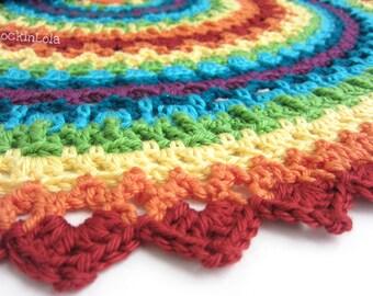 tie dye baby blanket - lacy baby blanket - round baby blanket - crochet baby blanket - handmade by RockinLola
