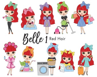 Red Hair Girl Clipart Girl Laundry Clipart Red Haired Girl Lifestyle Clip Art Cute Red Hair Clipart Red Haired Girl Digital Planner Clipart