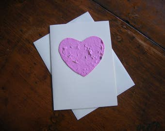 Valentine's Day card- Plantable paper heart - Pink heart embedded with wildflower seeds - Wedding, Birthday, Sympathy, Love, Engagement