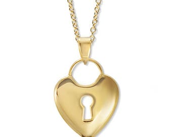Gold Heart Love Lock Key Pendant - Valentines Day - Gift for girlfriend - gift for wife - birthday - romance gift - Gold over silver - 18k