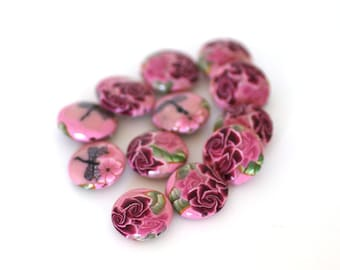 A Dozen Sweet Pink Rose Polymer Clay Lentil Beads, 12 Pieces,  - Made to Order