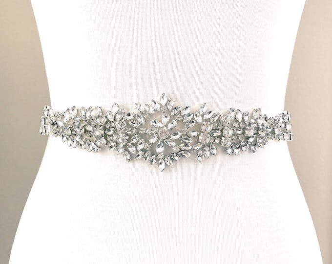 Bridal Belt, Bridal Sash, Wedding Belt, Wedding Sash Rhinestone and Pearl Sash B22S