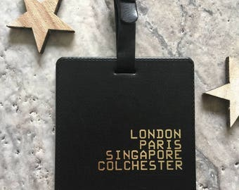 Square Leather Personalised Places Tag