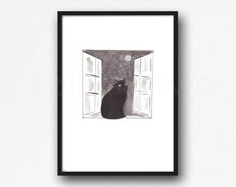 Black Cat Print Watercolor Painting Print Black Cat In The Window Stars and The Moon Cat Lover Gift Bedroom Wall Decor Wall Art Home Decor