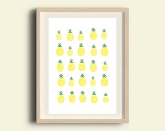 Pineapple printable, pineapple pattern, instant download printable art, yellow print, illustration print, home decor, printable kitchen art