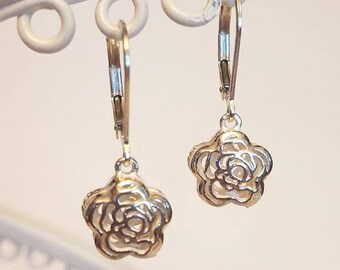 NEW!!! Sterling Silver Rose Lever Back Dangle Earrings from the Garden Collection!