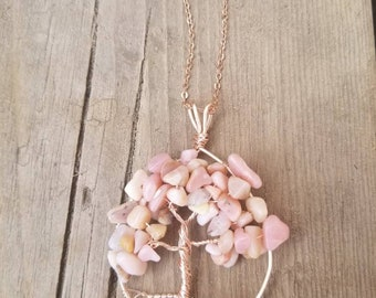 Australian pink opal tree of life necklace in rose gold