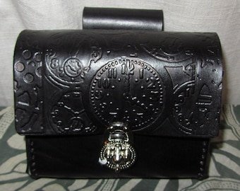 Customizable Leather Belt Pouch, Steampunk, Clocks, Medium Bag, Hip Bag, LARP, Role Play