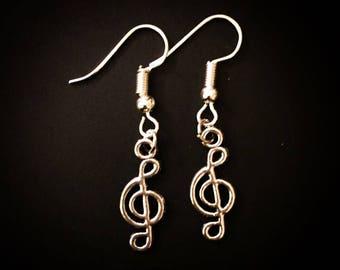 Silver Music Clef Note Musician Dangle Hook Earrings
