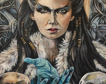 """New A4 """"NORSE GODDESS HEL"""" Mounted Print"""