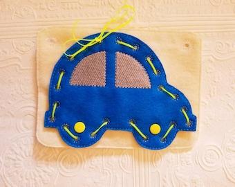 Felt Car Lacing Card - Lacing Busy Book - Car Busy Book - Quiet Time Activity - Busy Bag Activity - Felt Lacing Toy - Car Sewing Game