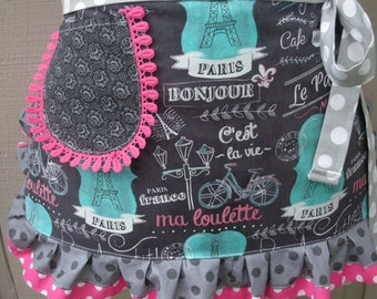 Womens Aprons French Themed Aprons Cafe Style Aprons Paris Aprons Hot Pink Aprons Annies Attic Aprons Etsy Aprons Grey Aprons Pink Aprons