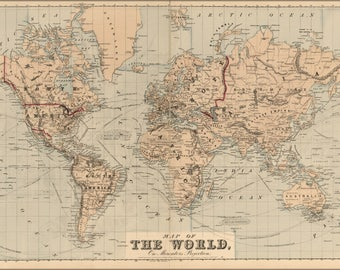 Poster, Many Sizes Available; Map Of The World 1875