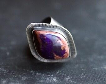 Purple Sugilite Gemstone in Sterling Silver Statement Ring - Size 7.75