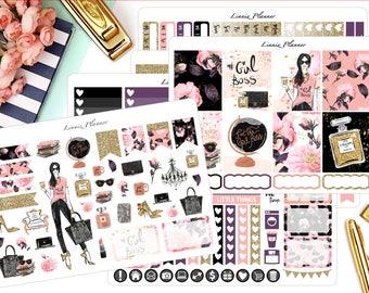 Girl Boss Kit or Al a Carte (matte planner sticker, fits perfect in Erin Condren Life Planner Vertical)