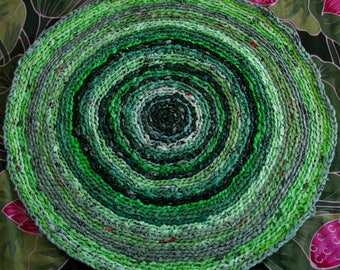 """Green """"green"""" recycled crochet plastic bags rug, Upcycled designer area rug, Recycled Eco friendly designer rug"""