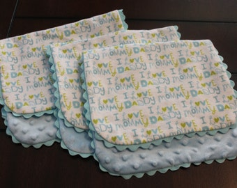 Burp Cloth Set - Set of 3 Flannel and Minky burp cloths