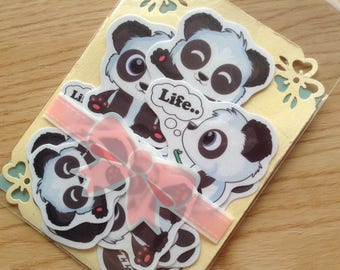 Cute Panda Stickers, panda sticker, scrapbook sticker, handmade sticker, panda label sticker, panda stationery, anime stickers, anime panda