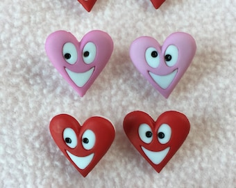 HAPPY HEARTS  ~ Dress It Up Buttons ~ 8 Smiley Hearts ~ Red - Pink