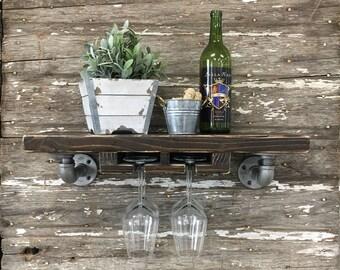 Busing Stemware Shelf // Solid Wood Shelf // Modern Rustic // Industrial Pipe Shelf // Wine Shelf // Bar Shelf