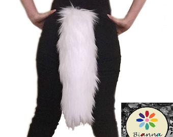 "Kawaii All White Faux Fur Animal Cosplay Tail, Size 15 20 25 30 35 "", Anime Convention Rave Costume Gear, Furry Fuzzy Accessory Idea"