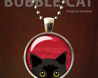 Black Cat Necklace, Black Cat Pendant, Peeking with Yellow Eyes, Red background, Cute black kitty jewelry, Jewellry for cat lovers, artwork