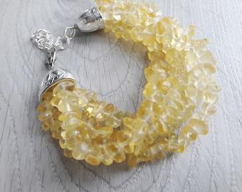 Citrine Bracelet  Healing Crystal Bracelet Citrine Jewelry Citrine multi-row bracelet  Citrine crystal cluster bracelet Citrine crystal