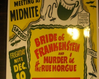 Bride of Frankenstein Spook Show Event Poster Ghost Horror Magic Act Trick Magician Print / Art / Illustration/ Window Card Reproduction
