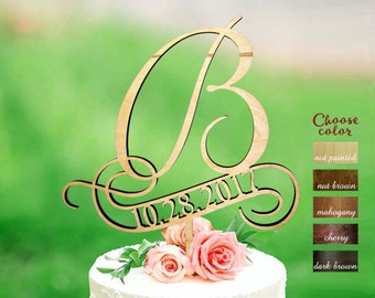 b cake topper, cake toppers for wedding, personalized wedding cake topper, initial cake topper, cake topper b, cake topper with date, CT#147