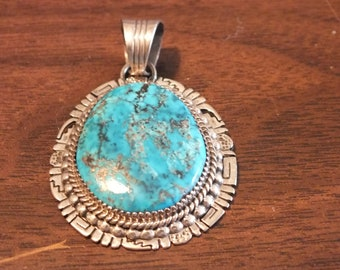 Sterling Silver, High Grade Morenci Turquoise Pendant By Will Denetdale Navajo