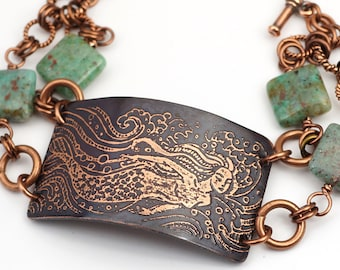 Mermaid bracelet, green blue cooperite beads and etched copper, two strand jewelry, 7 3/4 inches long
