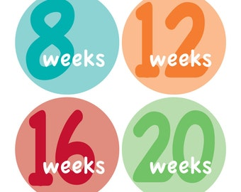 12 Weekly Pregnancy Mama-to-be Maternity Waterproof Glossy Stickers  - Monthly stickers available - Design W001-02