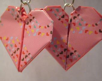 Pink origami heart earrings