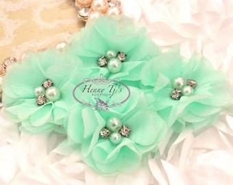 4 Stück Aubrey Mint SEAFOAM Green - Soft-Chiffon mit Perlen und Strass Mesh geschichtet kleine Stoffblumen, Haar-Accessoires