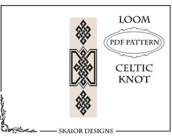 Loom Bead Pattern Celtic Knot Bracelet Cross Seed Beads PDF Tribal Black White Loom Beaded Beading Pattern Knotwork PDF Geometric Bookmark