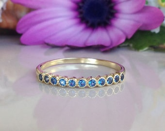 20% off-SALE!! Blue Topaz Ring - December Birthstone - Half Eternity Ring - Topaz Jewelry- Gold Ring - Dainty Ring - Tiny Ring - Simple Ring