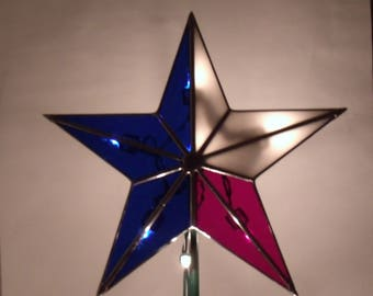 Stained Glass Texas Star with Light Clips, Patriotic Christmas Tree Topper Star, Heirloom Holiday Tree Decoration 10 Inch