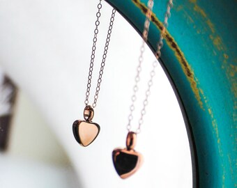Rose Gold Cremation Urn Necklace | Urn Jewelry | Ash Urn Necklace | Memorial Jewelry | Heart Urn Necklace | Dainty Discreet Urn | Pink Gold