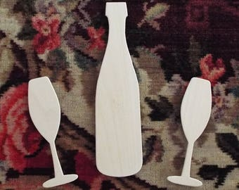 Unfinished Wood Champagne Bottle & Champagne Flute Set, DIY Champagne Photo Booth Props, Unfinished Wedding Photo Booth Props