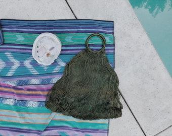 Vintage woven green jute market bag | vintage jute bag | vintage woven bag | woven straw bag | boho bag