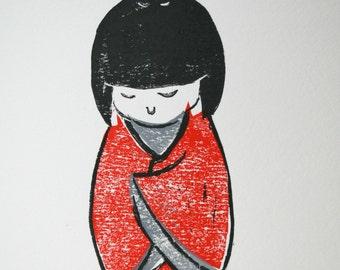 Linocut print | Japanese woman