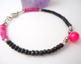 Black Onyx Bracelet with Hot Pink Chalcedony Beaded Bracelet Gemstone Bracelet Friendship Bracelet