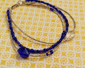 Fine Thai Silver 3 Strand Bracelet With Cobalt Blue Glass Beads and One Faceted Citrine Gemstone